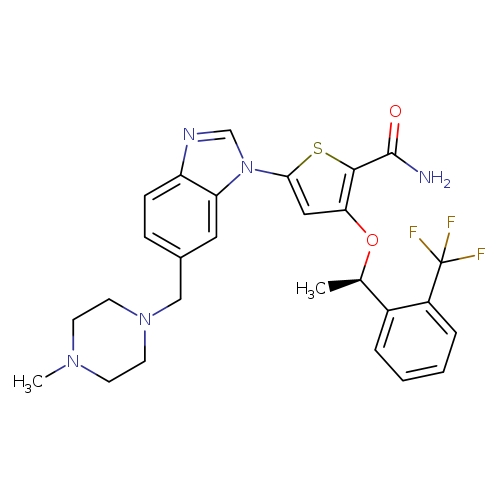 5-{6-[(4-methylpiperazin-1-yl)methyl]-1H-1,3-benzodiazol-1-yl}-3-[(1R)-1-[2-(trifluoromethyl)phenyl]ethoxy]thiophene-2-carboxamide