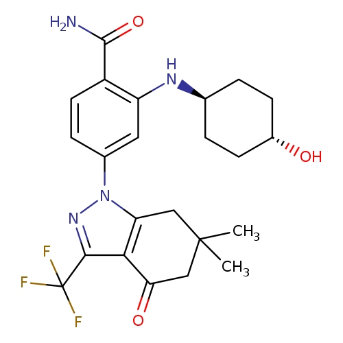 4-[6,6-dimethyl-4-oxo-3-(trifluoromethyl)-4,5,6,7-tetrahydro-1H-indazol-1-yl]-2-{[(1r,4r)-4-hydroxycyclohexyl]amino}benzamide