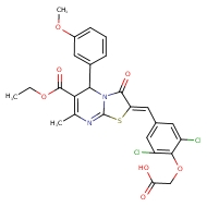 2-(2,6-dichloro-4-{[(2Z)-6-(ethoxycarbonyl)-5-(3-methoxyphenyl)-7-methyl-3-oxo-2H,3H,5H-[1,3]thiazolo[3,2-a]pyrimidin-2-ylidene]methyl}phenoxy)acetic acid
